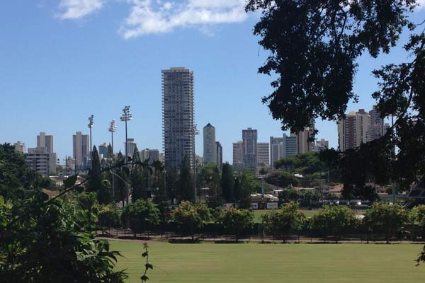 A view of downtown Honolulu from the residential area of the University of Hawaii at Manoa