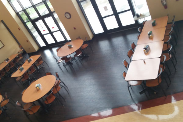 An inside view of the dining hall at Saint Leo
