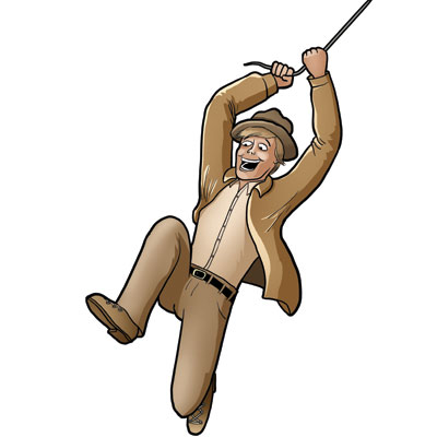 Cartoon of man in adventure outfit swinging on vine from Dr. Jones Adventure