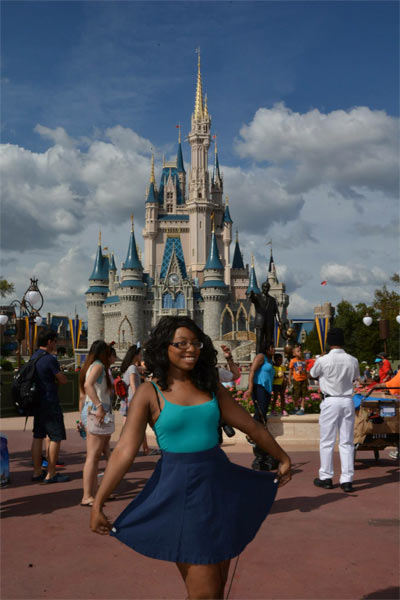 Victoria in front of Cinderella's castle