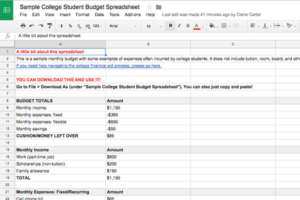 School year budget worksheet for college students