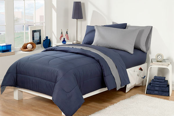 Dorm bed in gray and navy